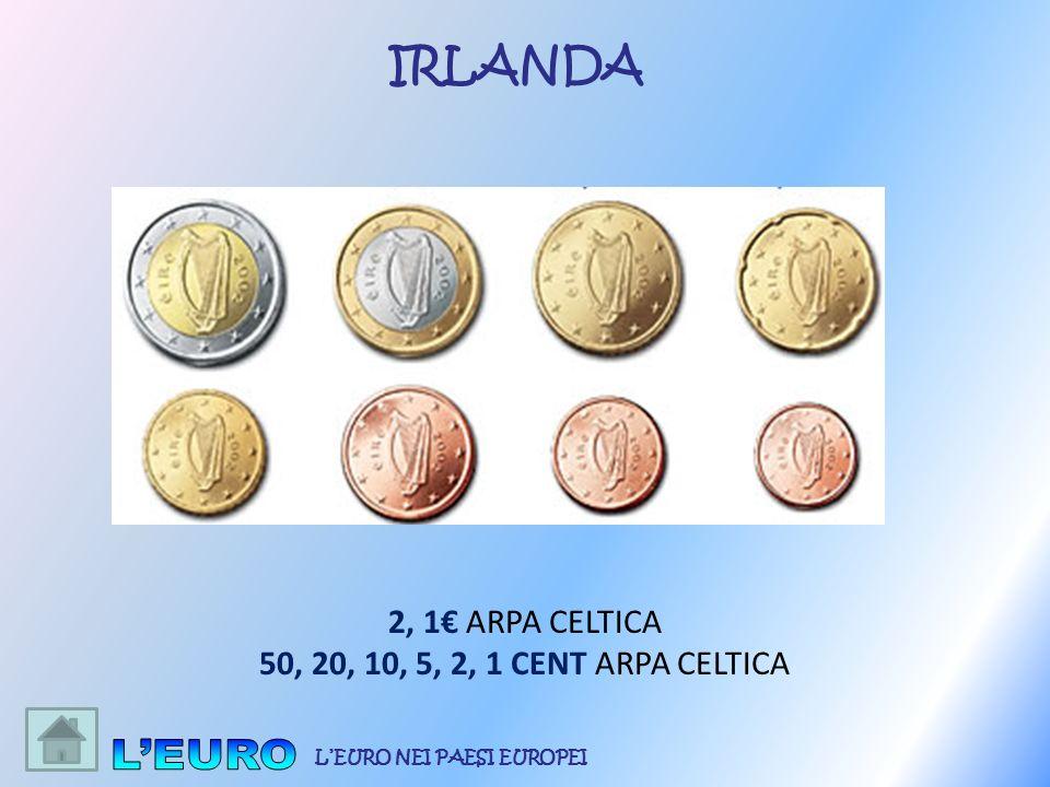 2, 1 ARPA CELTICA 50, 20, 10, 5, 2, 1 CENT ARPA CELTICA IRLANDA LEURO NEI PAESI EUROPEI