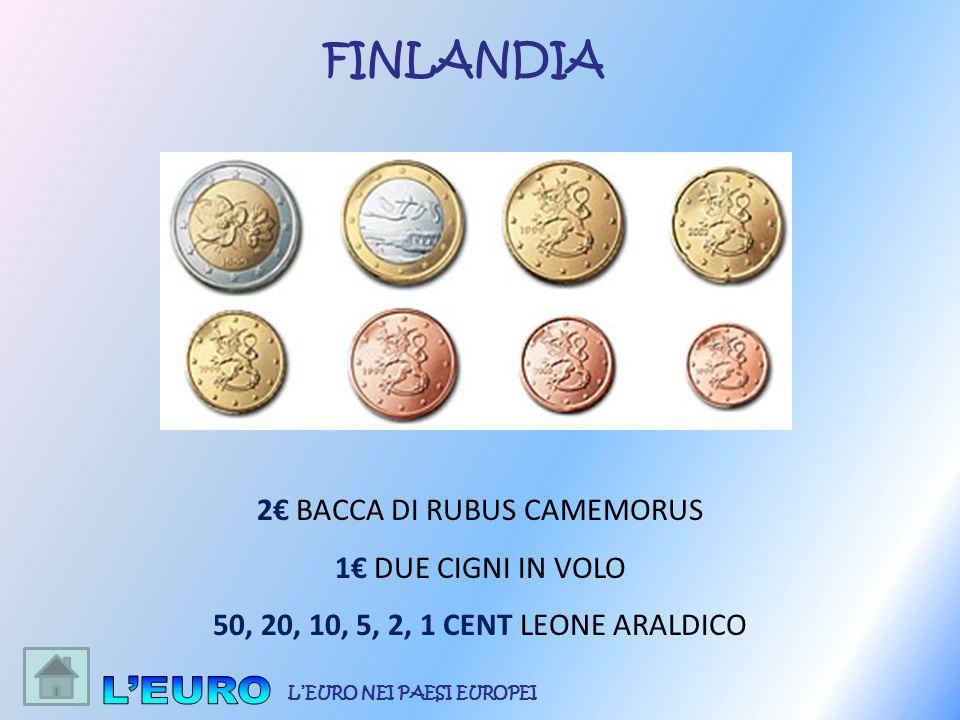 2 BACCA DI RUBUS CAMEMORUS 1 DUE CIGNI IN VOLO 50, 20, 10, 5, 2, 1 CENT LEONE ARALDICO FINLANDIA LEURO NEI PAESI EUROPEI