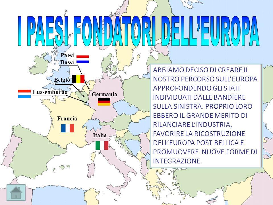 Francia Germania Italia Belgio Paesi Bassi Lussemburgo ABBIAMO DECISO DI CREARE IL NOSTRO PERCORSO SULLEUROPA APPROFONDENDO GLI STATI INDIVIDUATI DALL