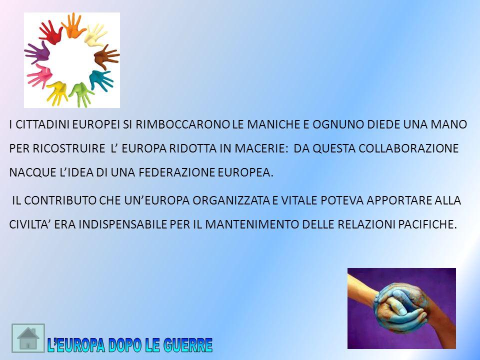 I CITTADINI EUROPEI SI RIMBOCCARONO LE MANICHE E OGNUNO DIEDE UNA MANO PER RICOSTRUIRE L EUROPA RIDOTTA IN MACERIE: DA QUESTA COLLABORAZIONE NACQUE LI