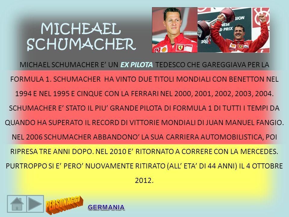 MICHAEL SCHUMACHER E UN EX PILOTA TEDESCO CHE GAREGGIAVA PER LA FORMULA 1. SCHUMACHER HA VINTO DUE TITOLI MONDIALI CON BENETTON NEL 1994 E NEL 1995 E