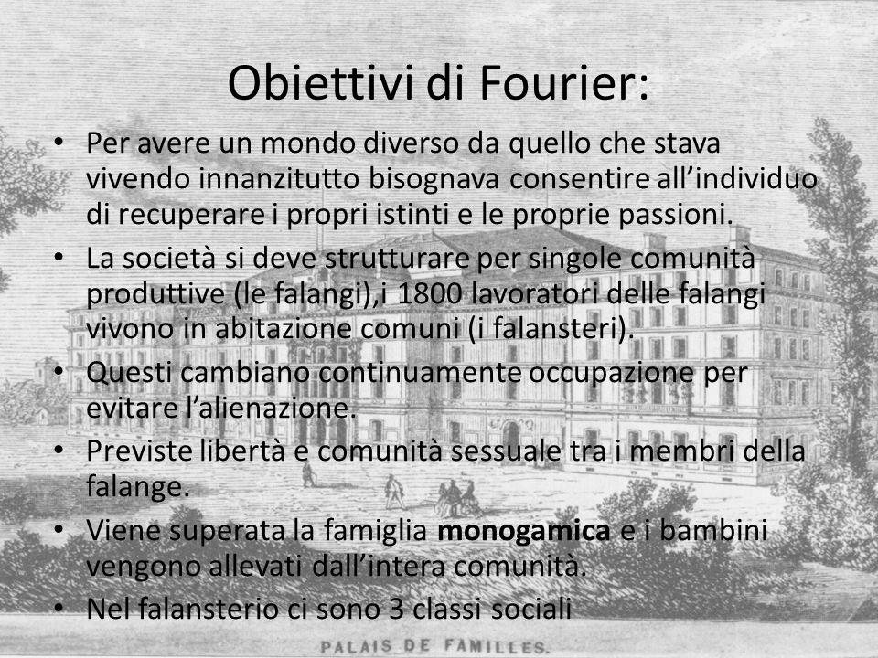 Obiettivi di Fourier: Per avere un mondo diverso da quello che stava vivendo innanzitutto bisognava consentire allindividuo di recuperare i propri ist