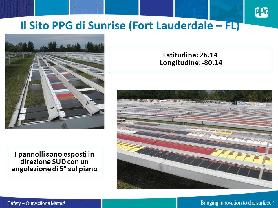 Safety – Our Actions Matter! Il Sito PPG di Sunrise (Fort Lauderdale – FL) Latitudine: 26.14 Longitudine: -80.14 I pannelli sono esposti in direzione