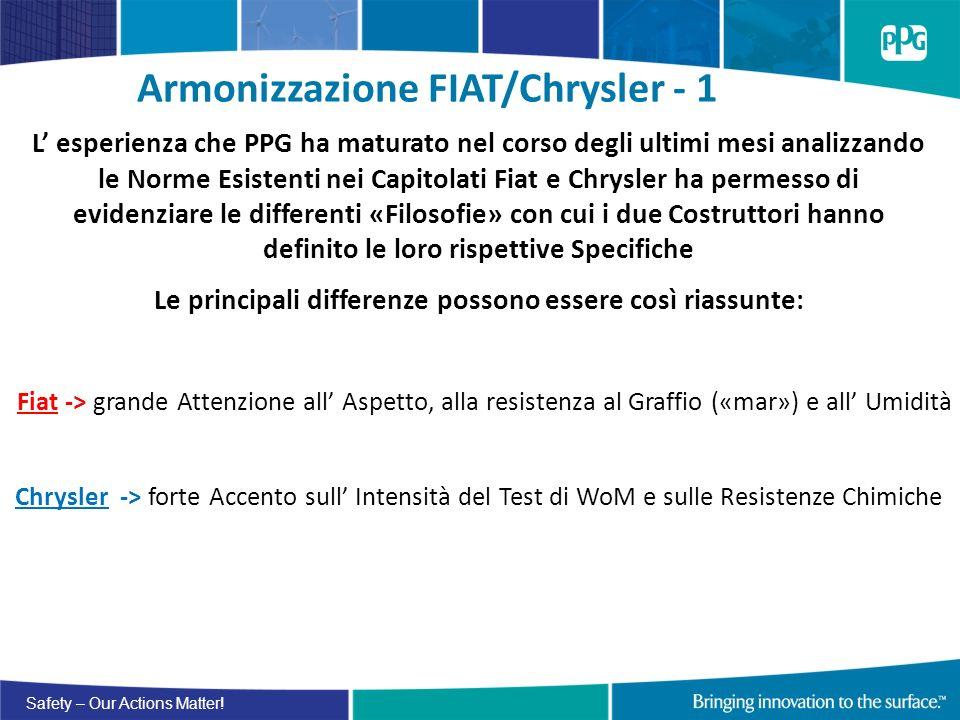 Safety – Our Actions Matter! Armonizzazione FIAT/Chrysler - 1 L esperienza che PPG ha maturato nel corso degli ultimi mesi analizzando le Norme Esiste