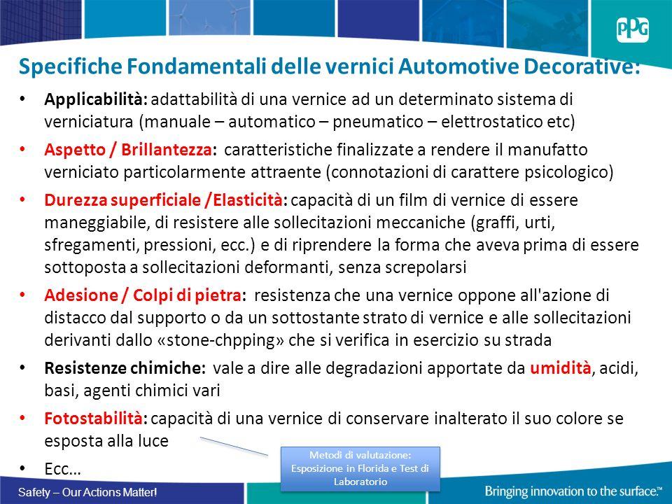 Safety – Our Actions Matter! Specifiche Fondamentali delle vernici Automotive Decorative: Applicabilità: adattabilità di una vernice ad un determinato