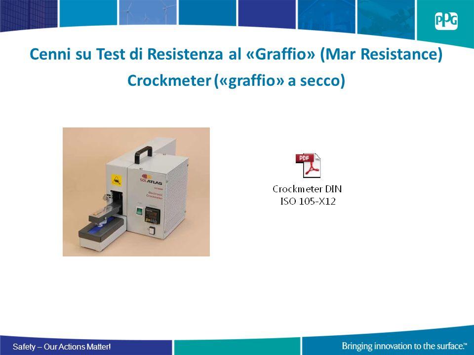 Safety – Our Actions Matter! Cenni su Test di Resistenza al «Graffio» (Mar Resistance) Crockmeter («graffio» a secco)