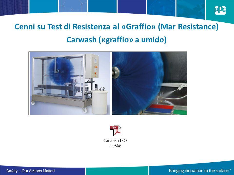 Safety – Our Actions Matter! Cenni su Test di Resistenza al «Graffio» (Mar Resistance) Carwash («graffio» a umido)