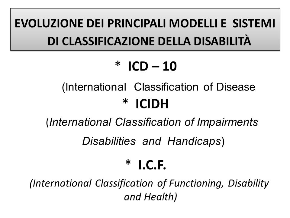 * ICD – 10 (International Classification of Disease * ICIDH ( International Classification of Impairments Disabilities and Handicaps) * I.C.F. (Intern