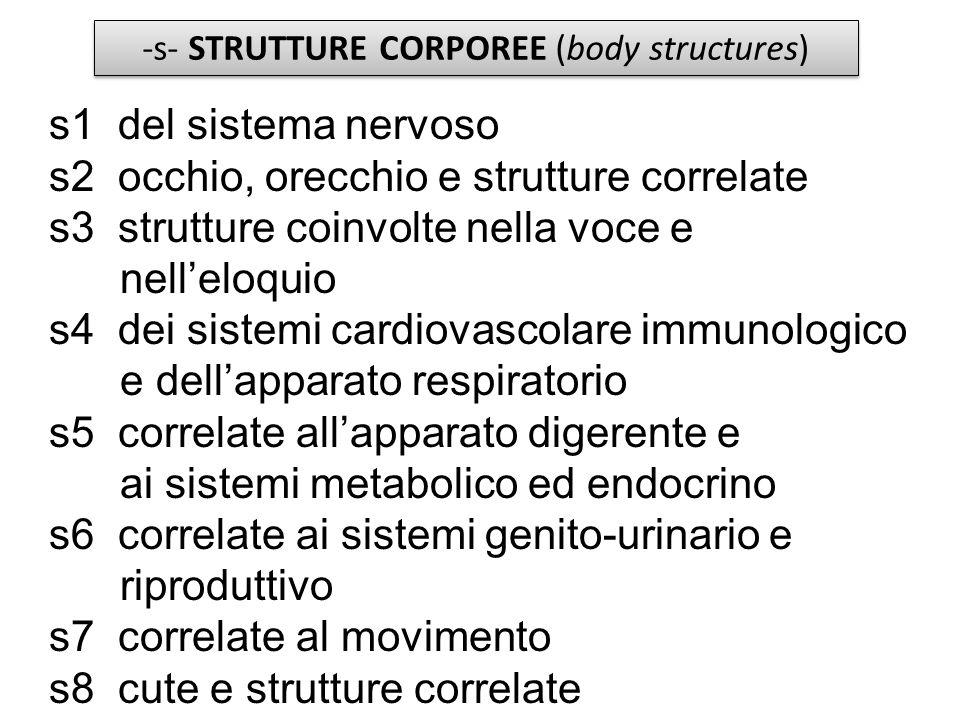 s1 del sistema nervoso s2 occhio, orecchio e strutture correlate s3 strutture coinvolte nella voce e nelleloquio s4 dei sistemi cardiovascolare immunologico e dellapparato respiratorio s5 correlate allapparato digerente e ai sistemi metabolico ed endocrino s6 correlate ai sistemi genito-urinario e riproduttivo s7 correlate al movimento s8 cute e strutture correlate -s- STRUTTURE CORPOREE (body structures)