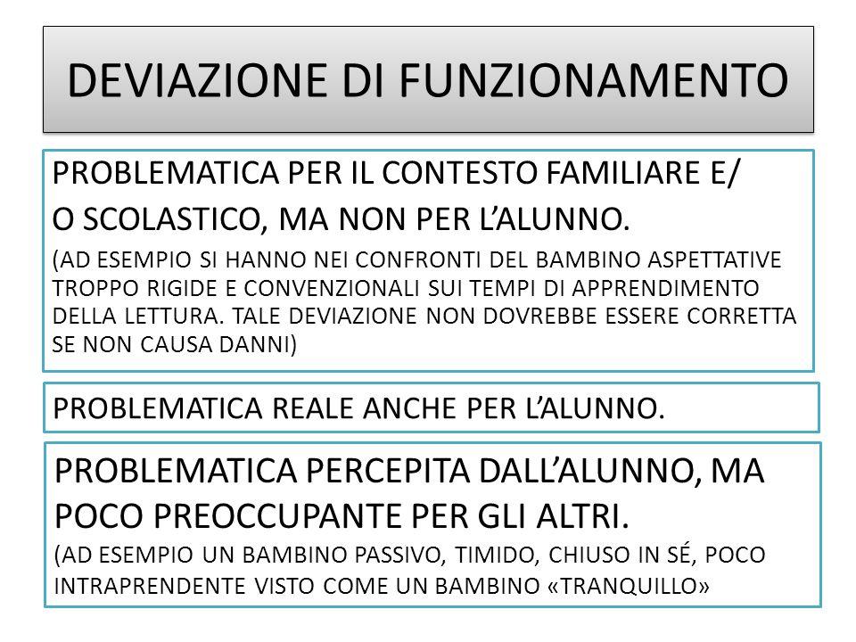 DEVIAZIONE DI FUNZIONAMENTO PROBLEMATICA PER IL CONTESTO FAMILIARE E/ O SCOLASTICO, MA NON PER LALUNNO.