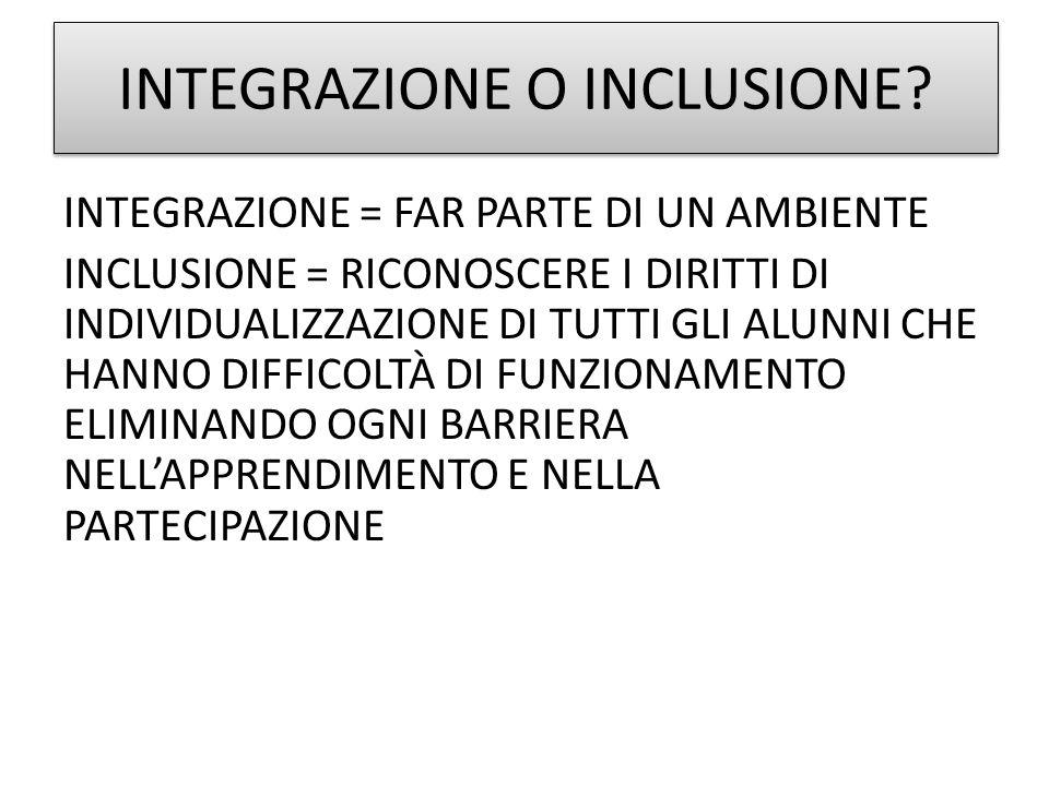 INTEGRAZIONE O INCLUSIONE.