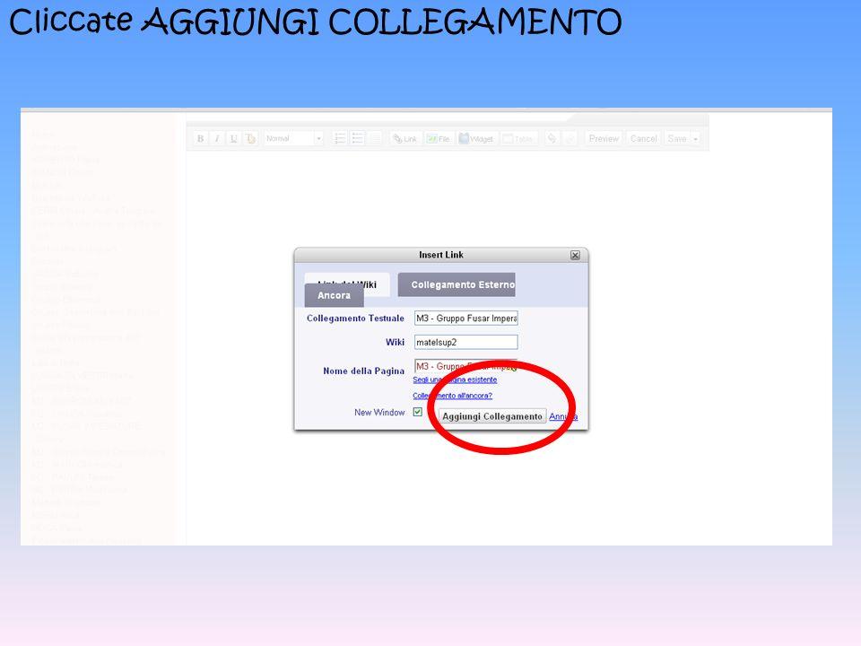 Cliccate AGGIUNGI COLLEGAMENTO