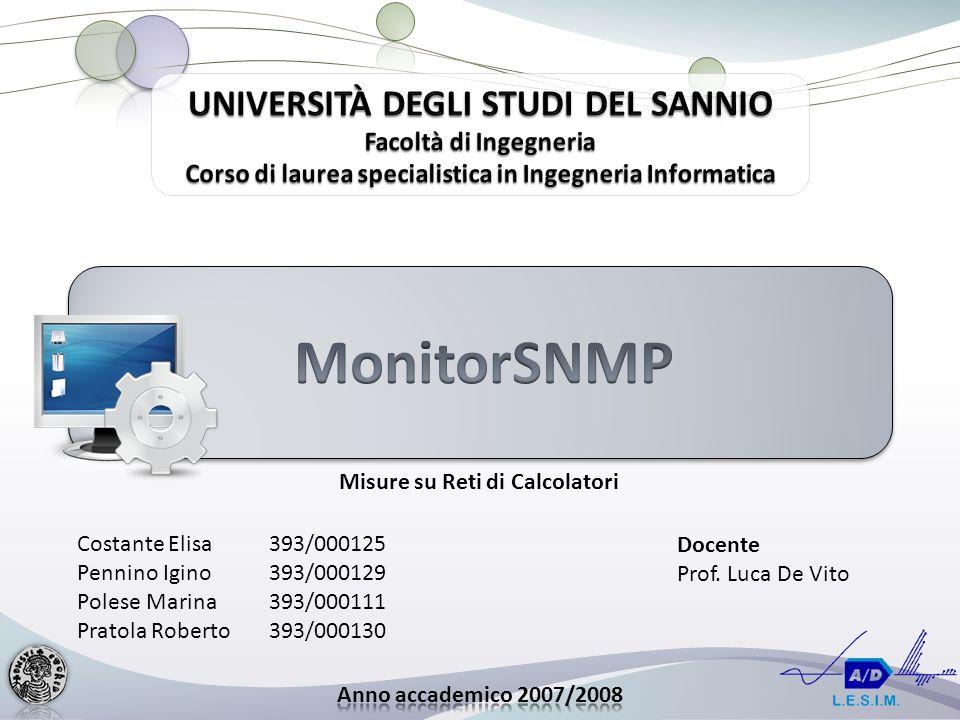 Costante Elisa393/000125 Pennino Igino393/000129 Polese Marina393/000111 Pratola Roberto393/000130 Misure su Reti di Calcolatori Docente Prof.