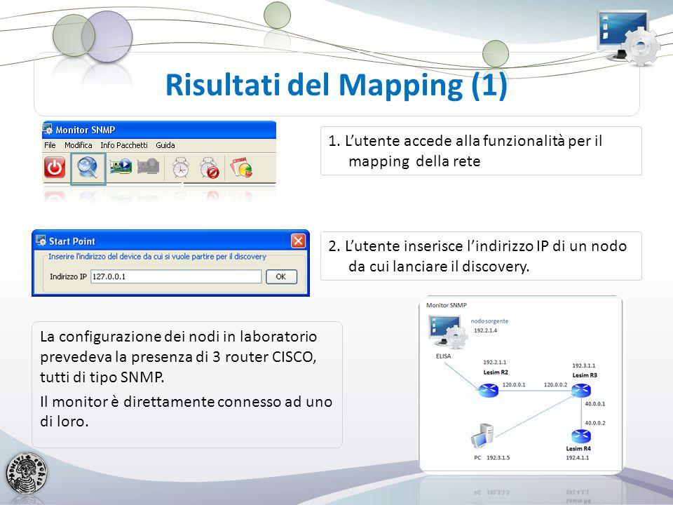 Risultato del Mapping (2) 3. Il monitor mostra i nodi individuati con alcune informazioni di stato