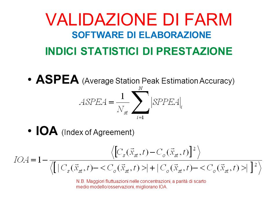 INDICI STATISTICI DI PRESTAZIONE ASPEA (Average Station Peak Estimation Accuracy) IOA (Index of Agreement) VALIDAZIONE DI FARM SOFTWARE DI ELABORAZION