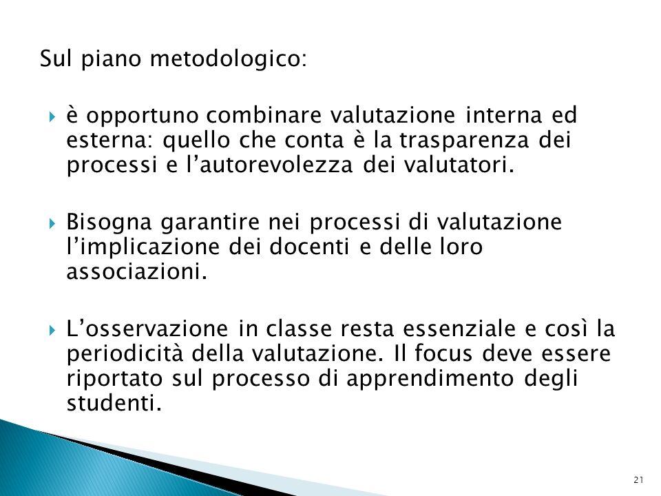 Sul piano metodologico: è opportuno combinare valutazione interna ed esterna: quello che conta è la trasparenza dei processi e lautorevolezza dei valu