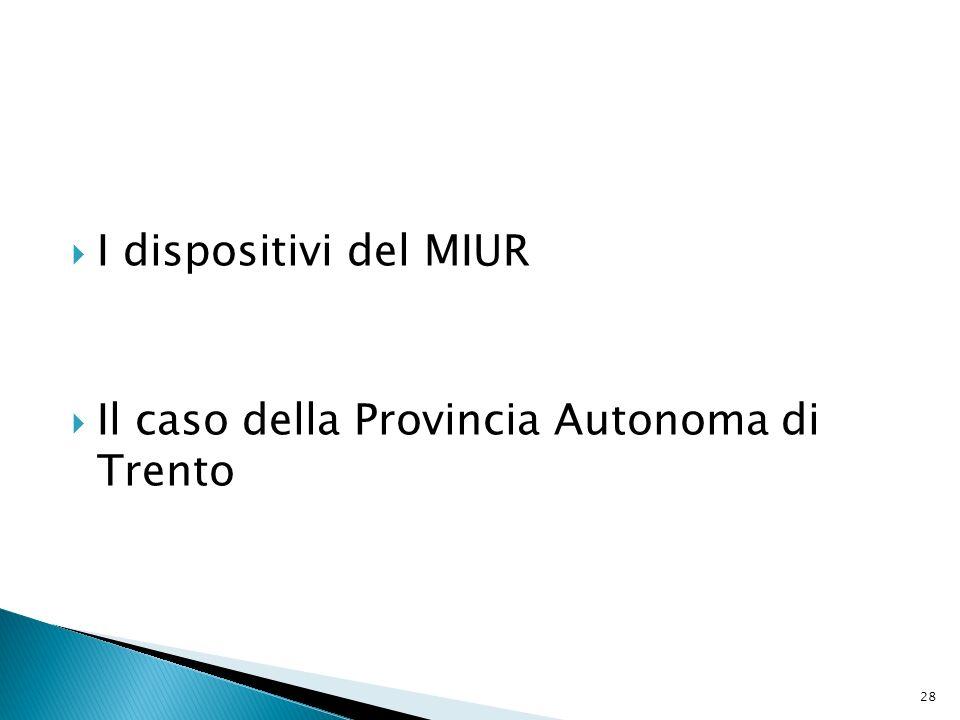 I dispositivi del MIUR Il caso della Provincia Autonoma di Trento 28