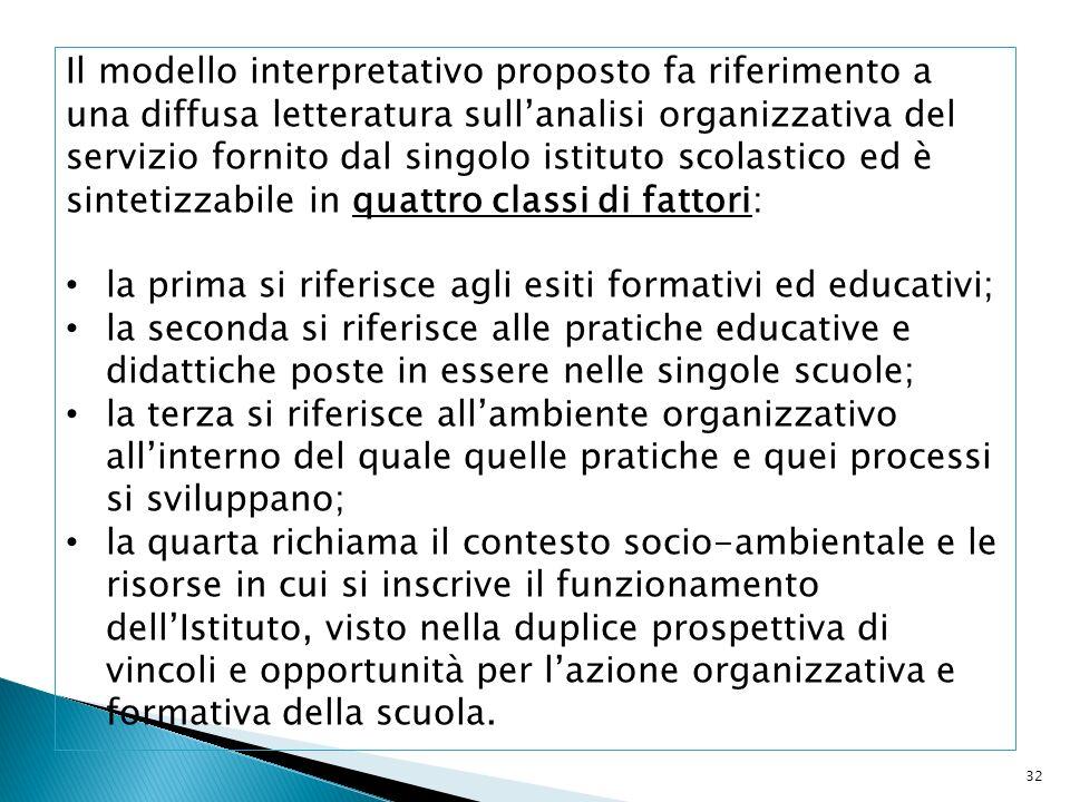 32 Il modello interpretativo proposto fa riferimento a una diffusa letteratura sullanalisi organizzativa del servizio fornito dal singolo istituto sco