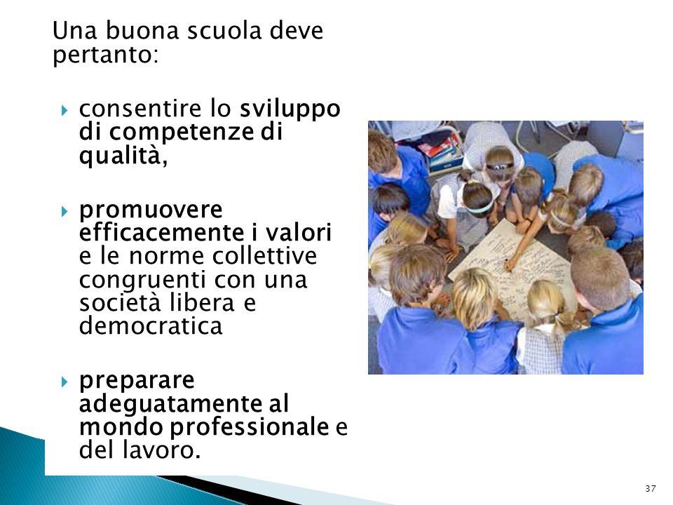 Una buona scuola deve pertanto: consentire lo sviluppo di competenze di qualità, promuovere efficacemente i valori e le norme collettive congruenti co