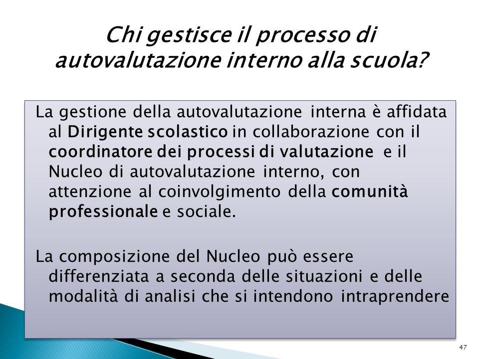 La gestione della autovalutazione interna è affidata al Dirigente scolastico in collaborazione con il coordinatore dei processi di valutazione e il Nu