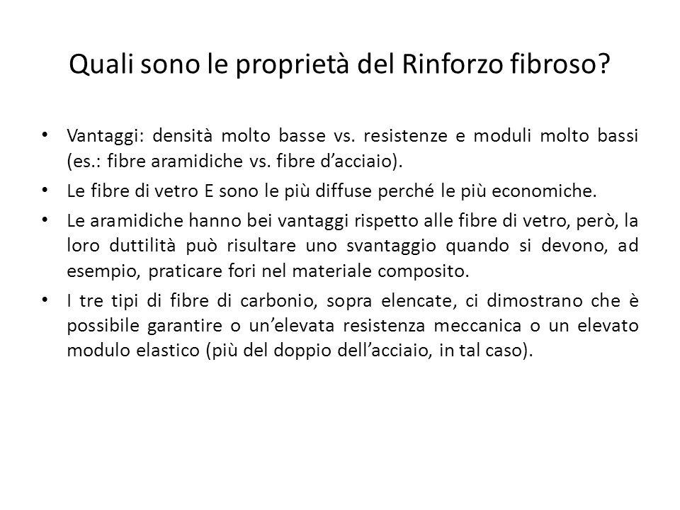 Quali sono le proprietà del Rinforzo fibroso? Vantaggi: densità molto basse vs. resistenze e moduli molto bassi (es.: fibre aramidiche vs. fibre dacci
