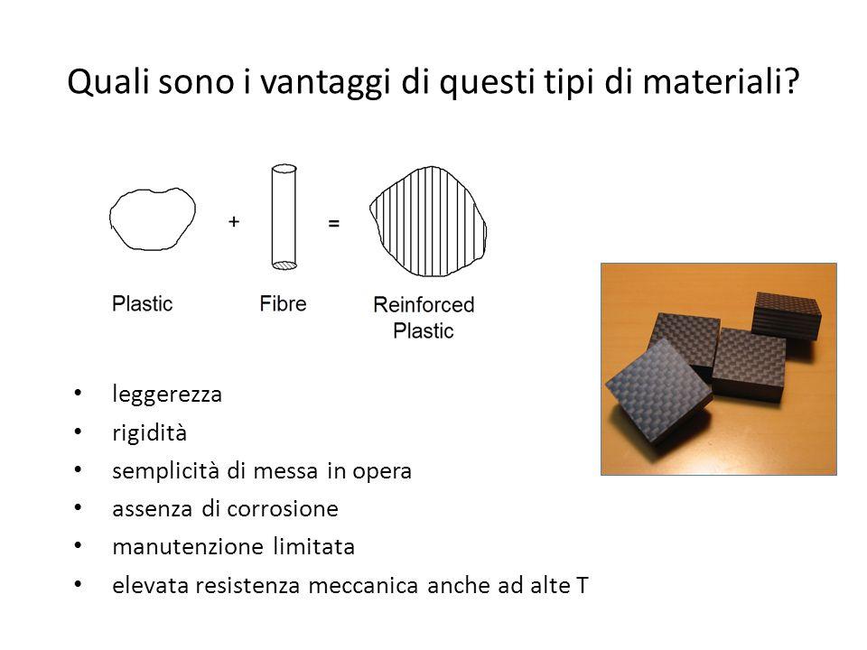 Quali sono i vantaggi di questi tipi di materiali? leggerezza rigidità semplicità di messa in opera assenza di corrosione manutenzione limitata elevat