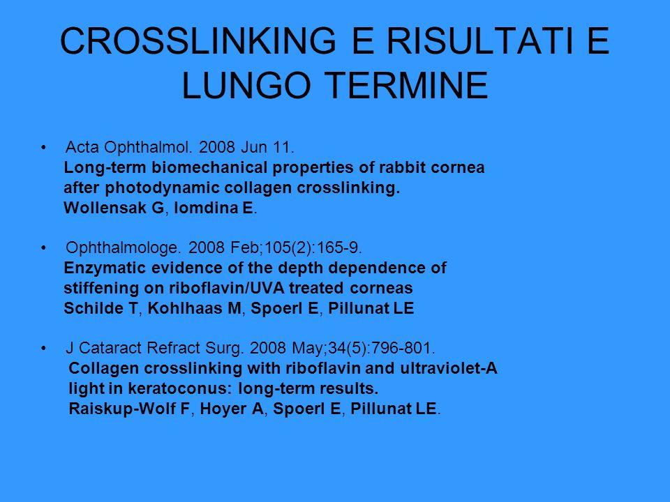 CROSSLINKING E RISULTATI E LUNGO TERMINE Acta Ophthalmol. 2008 Jun 11. Long-term biomechanical properties of rabbit cornea after photodynamic collagen
