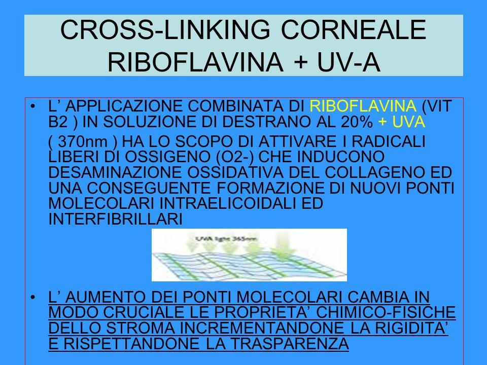 CROSS-LINKING CORNEALE RIBOFLAVINA + UV-A L APPLICAZIONE COMBINATA DI RIBOFLAVINA (VIT B2 ) IN SOLUZIONE DI DESTRANO AL 20% + UVA ( 370nm ) HA LO SCOP
