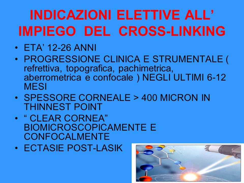 INDICAZIONI NON ELETTIVE ALL IMPIEGO DEL CROSS-LINKING ETA 26-40 ANNI CURVATURA CORNEALE >53-55 D STRIE DI VOGT ANCHE LIEVI AMETROPIA RESIDUA BIOMETRICA O ANISOMETROPICA INTOLLERANZA ALLE LENTI CORNEALI PEGGIORAMENTO SOGGETTIVO NON STRUMENTALE EVIDENTE MELTING CORNEALE