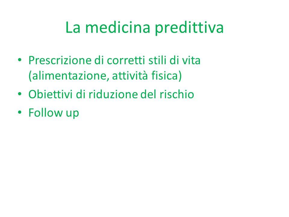 La medicina predittiva Prescrizione di corretti stili di vita (alimentazione, attività fisica) Obiettivi di riduzione del rischio Follow up