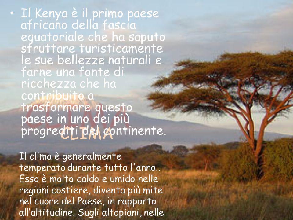 CLIMA CLIMA Il Kenya è il primo paese africano della fascia equatoriale che ha saputo sfruttare turisticamente le sue bellezze naturali e farne una fonte di ricchezza che ha contribuito a trasformare questo paese in uno dei più progrediti del continente.