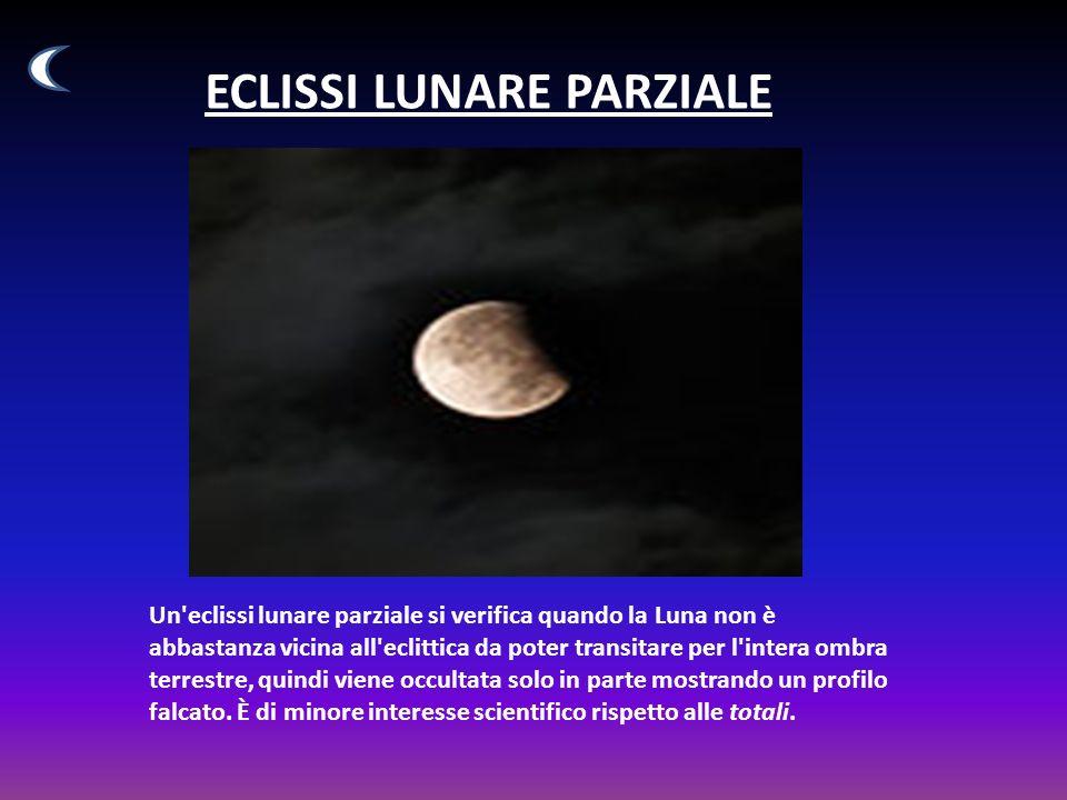 ECLISSI LUNARE PARZIALE Un eclissi lunare parziale si verifica quando la Luna non è abbastanza vicina all eclittica da poter transitare per l intera ombra terrestre, quindi viene occultata solo in parte mostrando un profilo falcato.