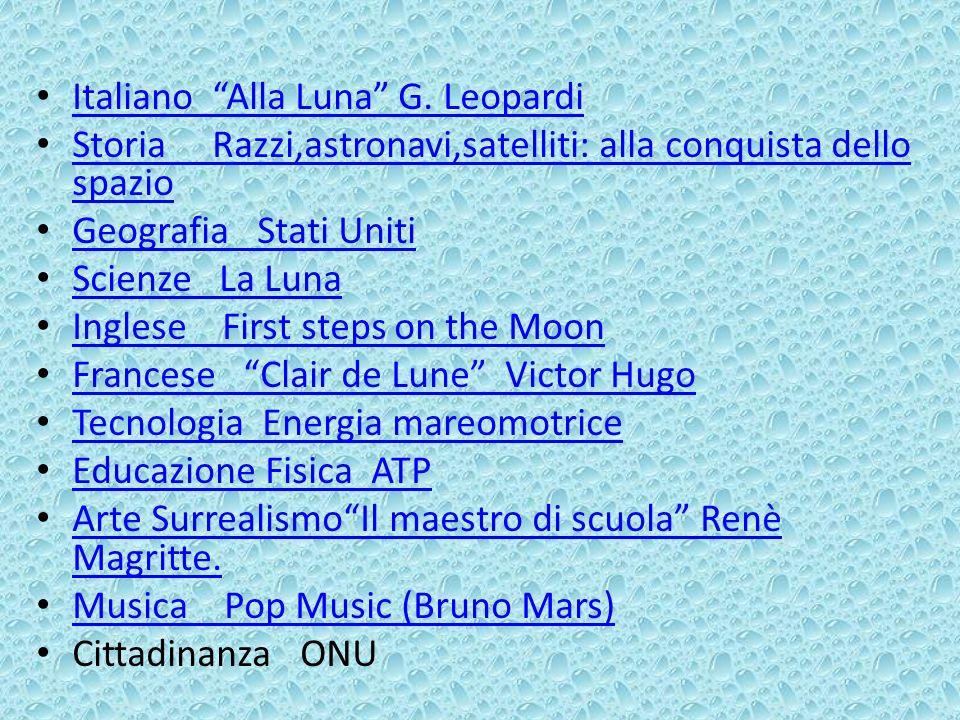 Italiano Alla Luna G. Leopardi Storia Razzi,astronavi,satelliti: alla conquista dello spazio Storia Razzi,astronavi,satelliti: alla conquista dello sp