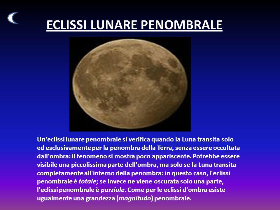 ECLISSI LUNARE PENOMBRALE Un eclissi lunare penombrale si verifica quando la Luna transita solo ed esclusivamente per la penombra della Terra, senza essere occultata dall ombra: il fenomeno si mostra poco appariscente.