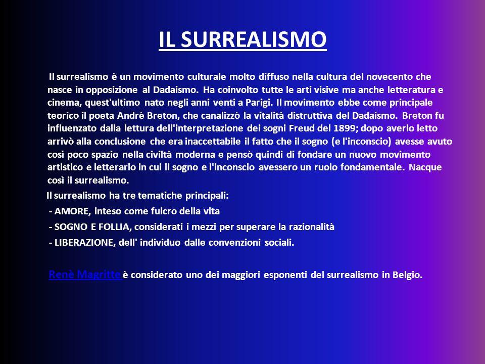 IL SURREALISMO Il surrealismo è un movimento culturale molto diffuso nella cultura del novecento che nasce in opposizione al Dadaismo. Ha coinvolto tu