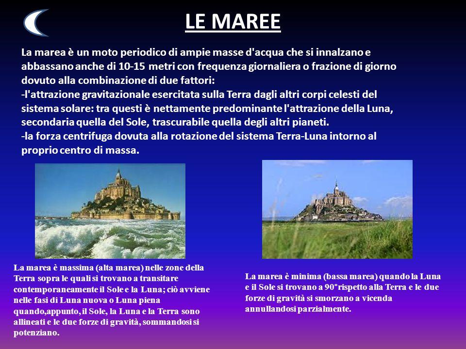 LE MAREE La marea è un moto periodico di ampie masse d'acqua che si innalzano e abbassano anche di 10-15 metri con frequenza giornaliera o frazione di