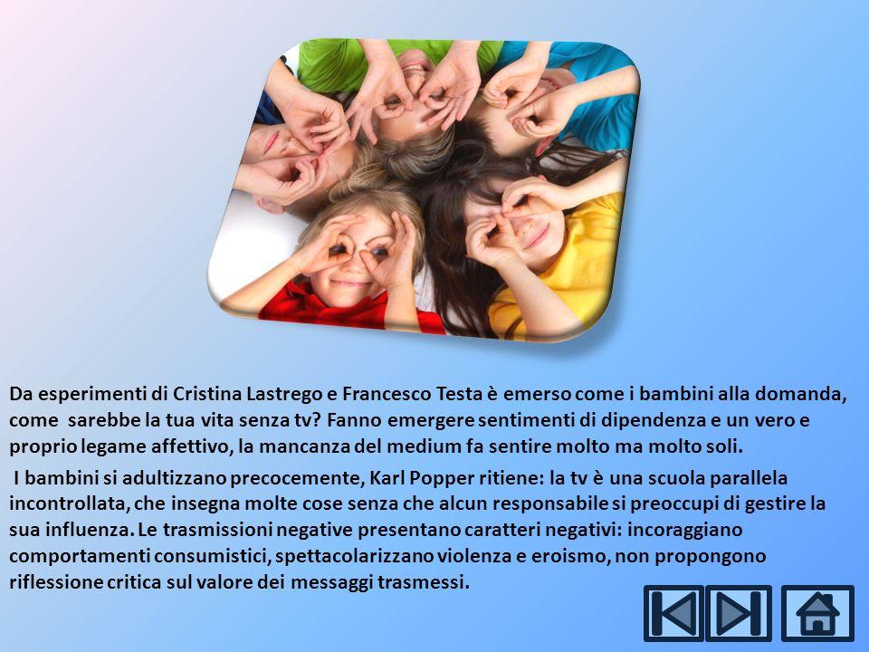 Da esperimenti di Cristina Lastrego e Francesco Testa è emerso come i bambini alla domanda, come sarebbe la tua vita senza tv.