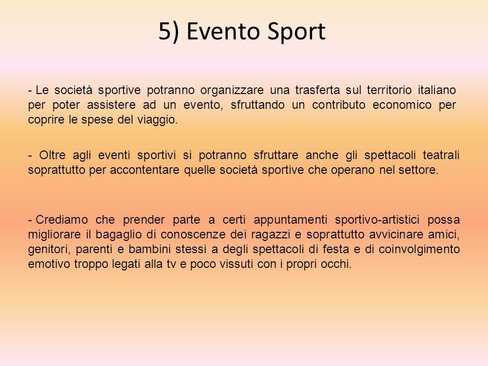 5) Evento Sport - Oltre agli eventi sportivi si potranno sfruttare anche gli spettacoli teatrali soprattutto per accontentare quelle società sportive che operano nel settore.