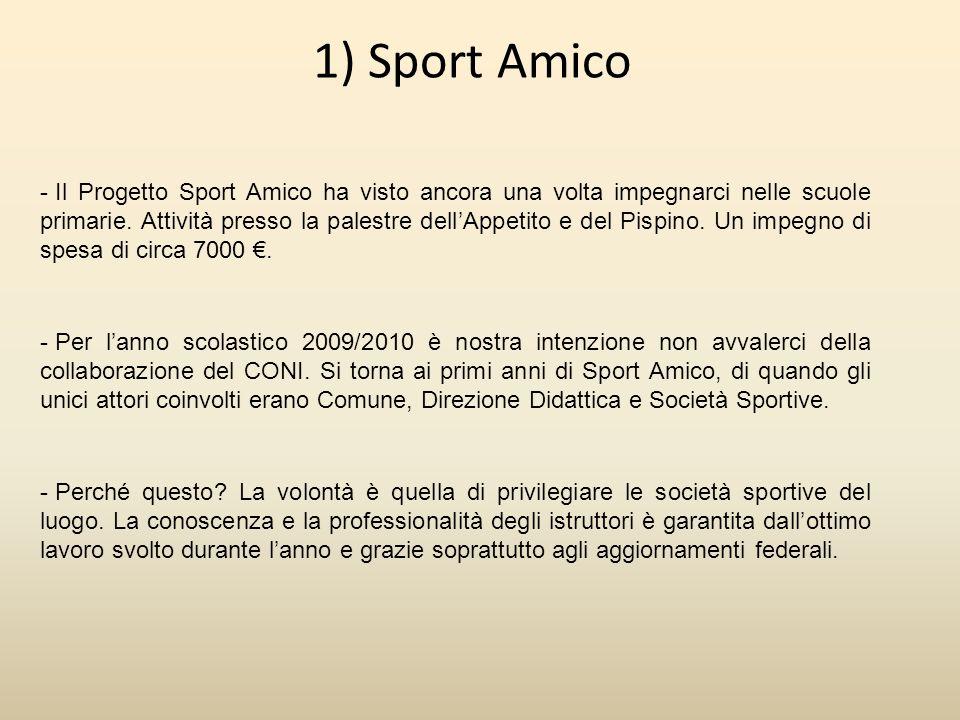 1) Sport Amico - Per lanno scolastico 2009/2010 è nostra intenzione non avvalerci della collaborazione del CONI.