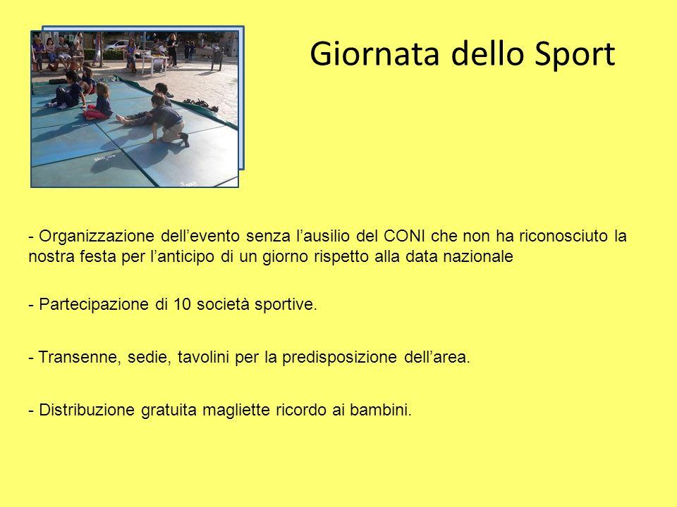 Giornata dello Sport - Organizzazione dellevento senza lausilio del CONI che non ha riconosciuto la nostra festa per lanticipo di un giorno rispetto alla data nazionale - Transenne, sedie, tavolini per la predisposizione dellarea.
