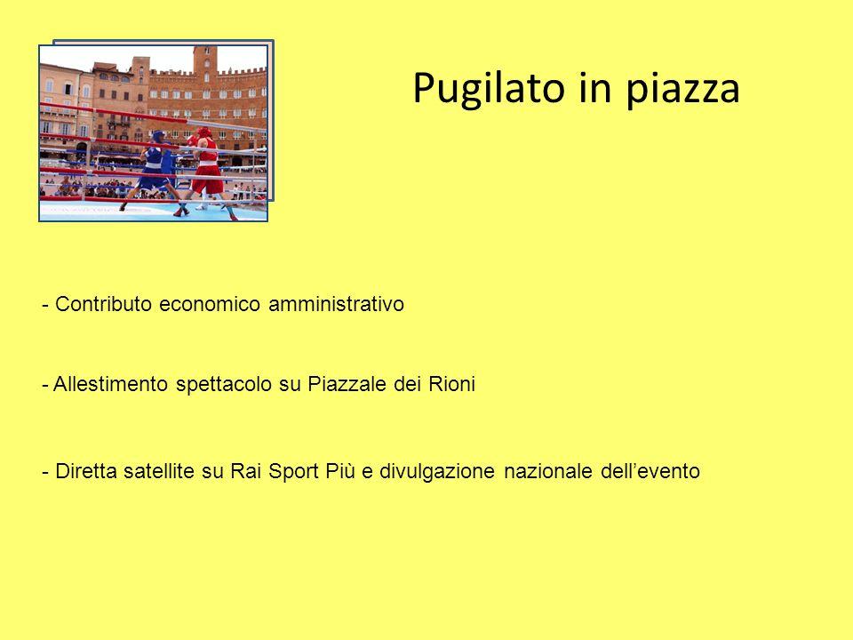 Pugilato in piazza - Contributo economico amministrativo - Allestimento spettacolo su Piazzale dei Rioni - Diretta satellite su Rai Sport Più e divulgazione nazionale dellevento