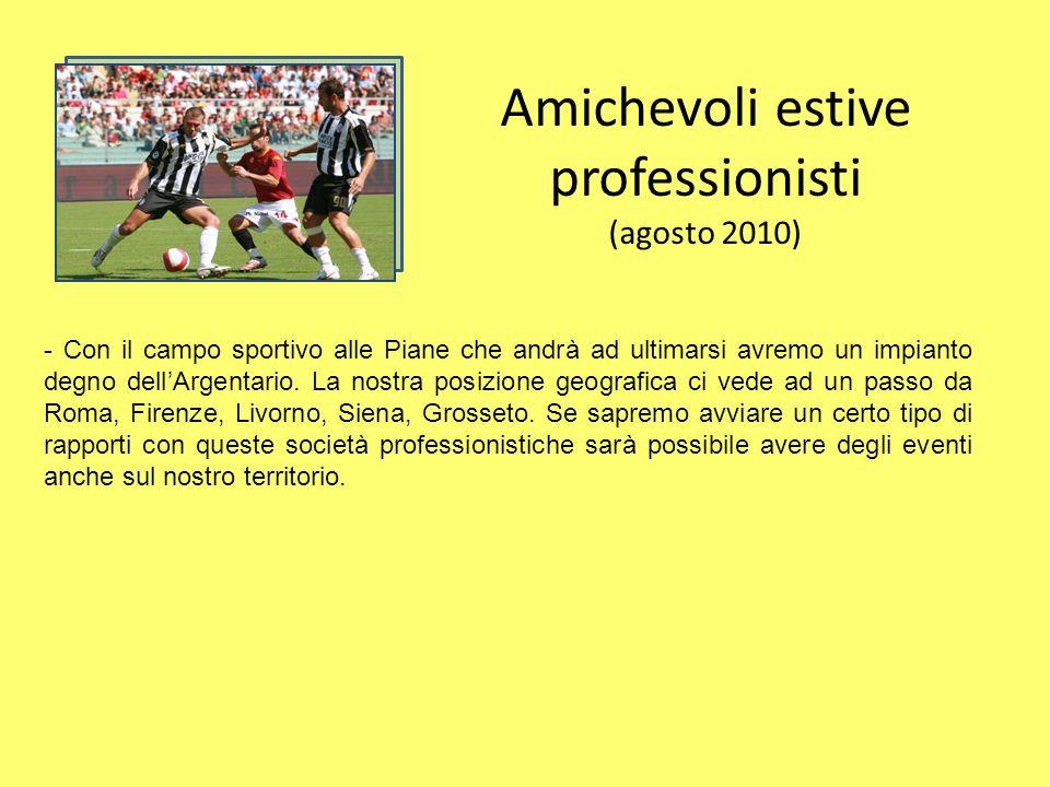 Amichevoli estive professionisti (agosto 2010) - Con il campo sportivo alle Piane che andrà ad ultimarsi avremo un impianto degno dellArgentario.
