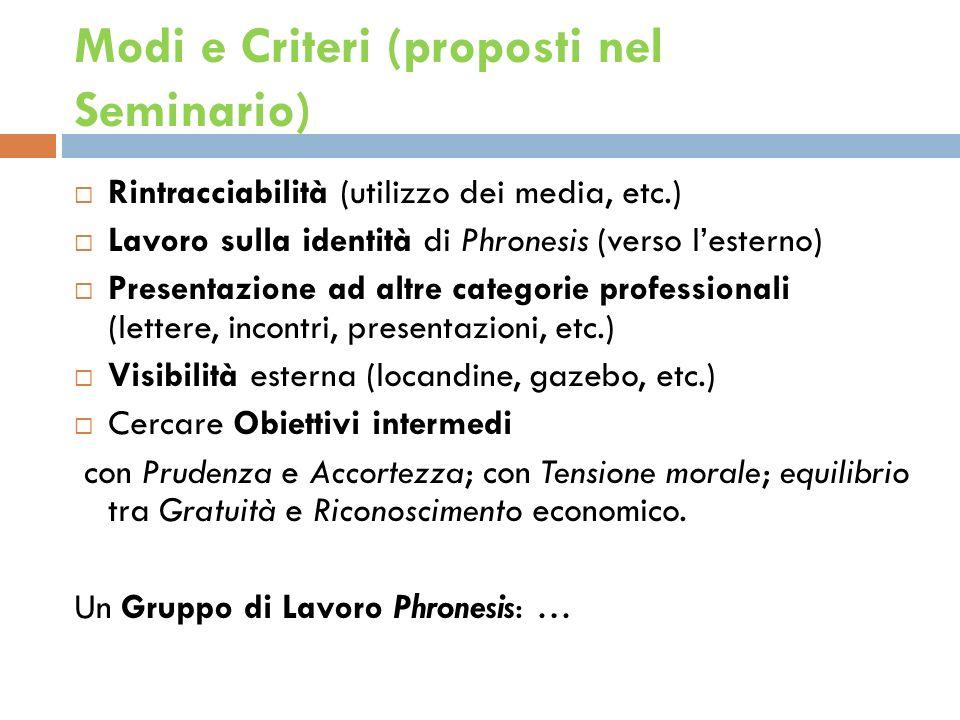 Modi e Criteri (proposti nel Seminario) Rintracciabilità (utilizzo dei media, etc.) Lavoro sulla identità di Phronesis (verso lesterno) Presentazione