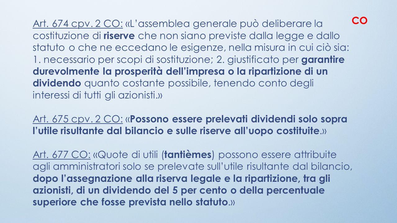 Art. 674 cpv. 2 CO: «Lassemblea generale può deliberare la costituzione di riserve che non siano previste dalla legge e dallo statuto o che ne eccedan