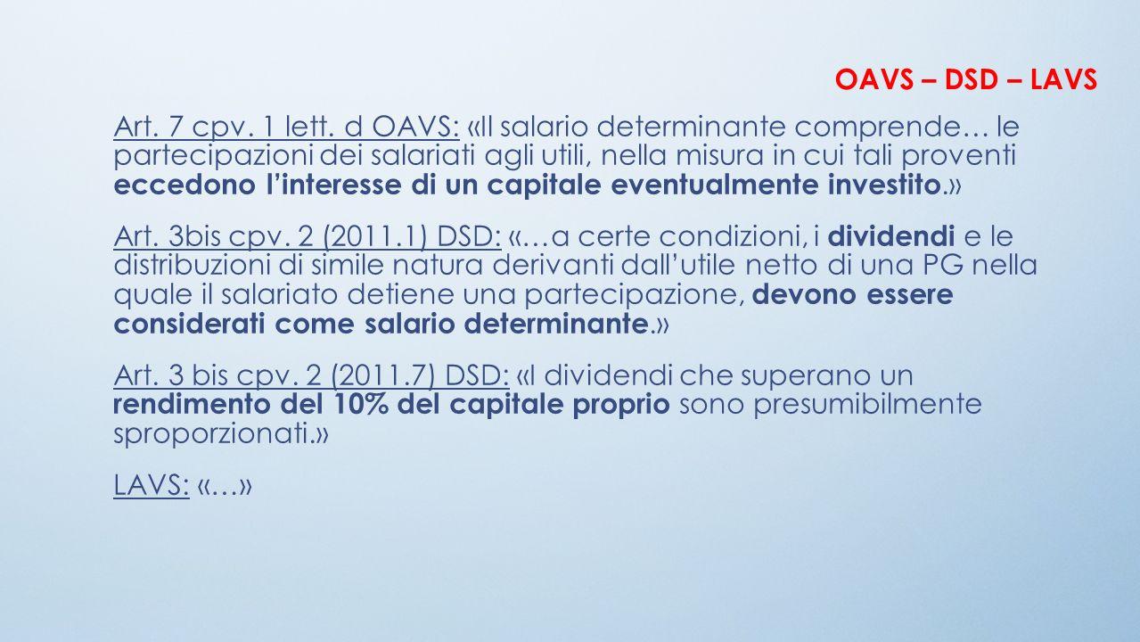 Art. 7 cpv. 1 lett. d OAVS: «Il salario determinante comprende… le partecipazioni dei salariati agli utili, nella misura in cui tali proventi eccedono