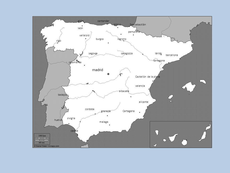 Cartagena salamanca madrid segovia burgos badajoz siviglia huelva saragozza lèrida barcellona tarragona Castellòn de la plana valencia alicante albace
