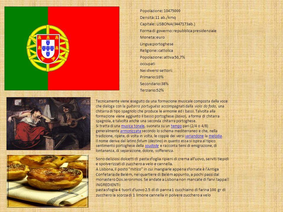 Popolazione: 10475000 Densità: 11 ab./kmq Capitale: LISBONA(3447173ab.) Forma di governo: repubblica presidenziale Moneta: euro Lingua:portoghese Reli