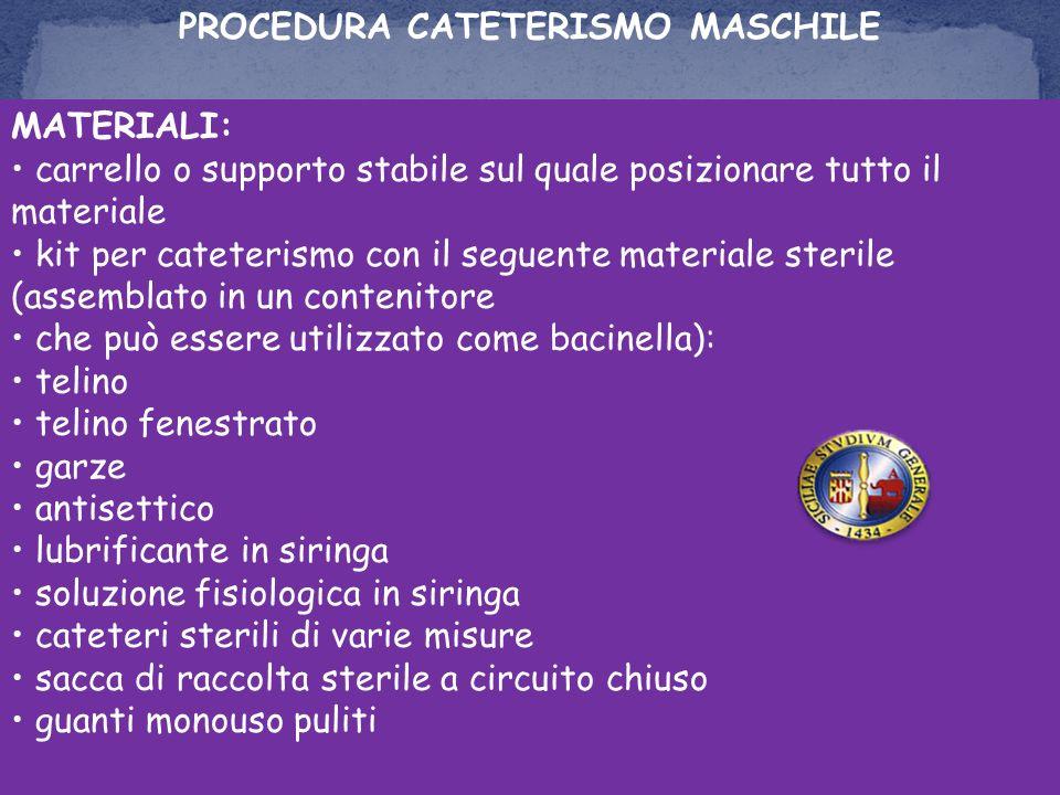 PROCEDURA CATETERISMO MASCHILE MATERIALI: carrello o supporto stabile sul quale posizionare tutto il materiale kit per cateterismo con il seguente mat