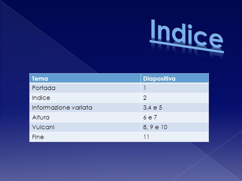 TemaDiapositiva Portada1 Indice2 Informazione variata3,4 e 5 Altura6 e 7 Vulcani8, 9 e 10 Fine11