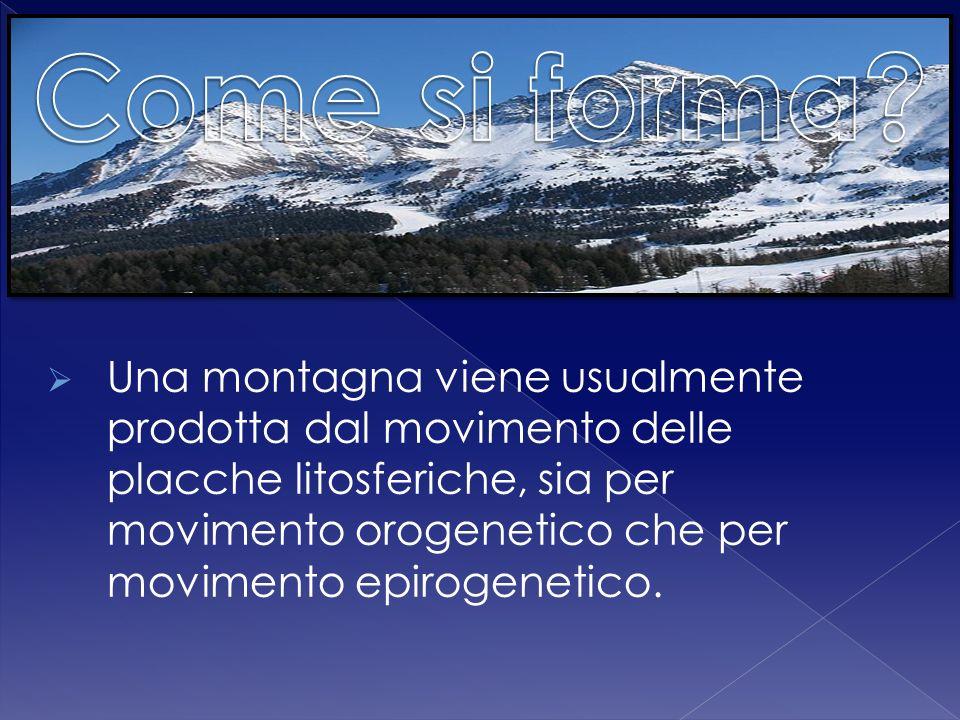 Una montagna viene usualmente prodotta dal movimento delle placche litosferiche, sia per movimento orogenetico che per movimento epirogenetico.